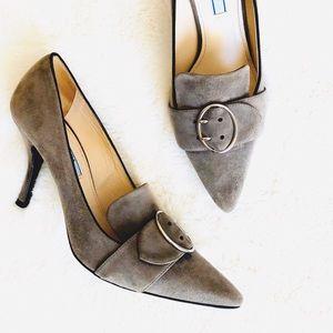Prada suede buckle heels